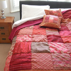 Red Sari Brocade Indian Quilt