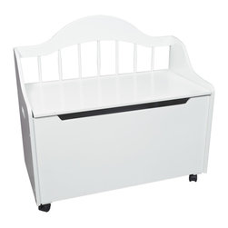 None - Gift Mark Home Kids Deacon Bench White Toy Chest - This Multi-functional solid wood Deccan Bench Toy and Storage Box will add an element of sophistication to any room. The top lid has been designed with special safety hinges to support the lid and to prevent accidental closures onto little fingers.