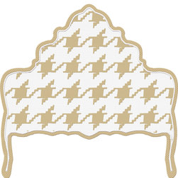 """gLaM-a-PeeL Wall Decal Headboard  - """" Ornate Houndstooth Tan and White Check"""" - A quiet """"Bold"""" - classic houndstooth in a Tan & White check."""