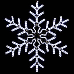 "EnvironmentalLights - Pure White 38"" LED Snowflake Mot140 - This big, beautiful 38"" LED Snowflake adds sparkle to your holiday decorations. Bright and colorful. 38 inches wide by 38 inches long. Energy-efficient: only 33.6 Watts consumed. Cord is about 70 inches long. Easy installation using suction cup hooks or ties (see companion parts nearby) or other fasteners. Premium UV-LED rope light. Top quality long-life LEDs, spaced 1 inch apart. Indoor/Outdoor. Dims well on the dimmers listed as companion parts. All-weather powder coated steel frame."