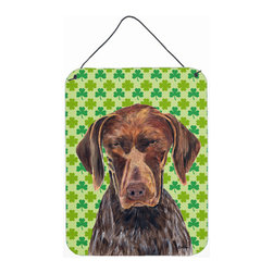 Caroline's Treasures - German Shorthaired Pointer St. Patrick's Day Shamrock Wall Print - Great for inside or outside these Aluminum prints will add a special touch to your kitchen, bath, front door, outdoor patio or any special place.  12 inches by 16 inches and full of color.  This item will take direct sun for a while before it starts to fade.  Rust and Fade resistant.  Aluminum Print with Hanging Rope.  Rounded Corners.