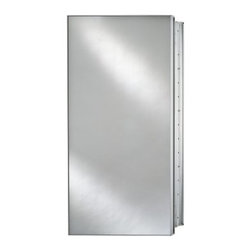 Afina Broadway Surface Mount Single Door Medicine Cabinet - 15W x 4D x 19H in. - The Afina Broadway Surface Mount Single Door Medicine Cabinet - 15W x 4D x 19H in. is a star among medicine cabinets. This piece boasts a satin anodized aluminum body for maximum durability and rust resistance. The mirrored door which rests upon concealed European hinges is available with your choice of design: beveled or polished edges or aluminum trim with a plain mirror. Inside you'll find a mirrored interior door and inside back as well as three adjustable glass shelves for your personalized storage needs. There was scarcely ever a neater cabinet. This piece may be recess or surface mounted. This cabinet measures 15W x 4D x 19H inches. The approximate wall opening dimensions are 14.375W x 4D x 18H inches.About AfinaAfina Corporation is a manufacturer and importer of fine bath cabinetry lighting fixtures and decorative wall mirrors. Afina products are available in an extensive palette of colors and decorative styles to reflect the trends of a new millennium. Based in Paterson N.J. Afina is committed to providing fine products that will be an integral part of your unique bath environment.