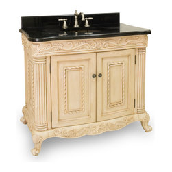 "Hardware Resources - 39"" Wide Solid Wood Vanity  VAN011-T - This 39"" wide solid wood vanity features hand-carved botanical and rope details and framed with reed-style columns. The antique white finish is created by hand, making each vanity unique. This vanity features a patented inner drawer fitted around the plumbing, equipped with ball bearing slides, and additional cabinet space for storage.  This vanity has a 2.5CM black granite top preassembled with an H8809WH (15"" x 12"") bowl, cut for 8"" faucet spread, and corresponding 2CM x 4"" tall backsplash.  Overall Measurements: 39-11/16"" x 22-3/4"" x 33-11/16"" (measurements taken from the widest point) Finish: Antique White Material: Wood Style: Traditional Coordinating Mirror(s): MIR011 Bowl: H8809WH"