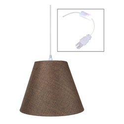 "Home Concept - 1-Light Plug-In Swag Pendant Lamp Light Oatmeal 7x14x11 - Plug In Swag Pendant - The perfect addition to any dark corner, or above a table that the builder didn't provide electrical wiring. You will love your swag pendant light because it can move anywhere and put the light exactly where you need it. Wondering about size?  Simply add the length and width of your space and that will give you the maximum bottom width of your pendant. If your swag is not centered in the room, you should likely use smaller measurements to define the ""space"" you are lighting up.      Why Upgrade to Home Concept Signature Pendants?       Top Quality Premium Lampshades means your room will glow with a rich, warm luster your guests will notice.  Plus we include upgrades like a premium inner lining and dual bulb clips so your new shade will last for years.      Heavy brass and steel frames mean you can feel the difference when you lift it."