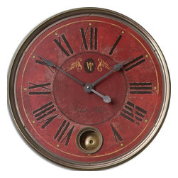 "Tuscan Red Old World Gallery Wall Clock 23"" - *Weathered, laminated clock face with cast brass details and internal pendulum."