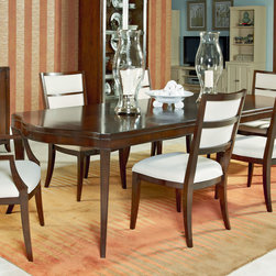 American Drew - American Drew Motif Leg Dining Table in Walnut - Walnut Veneer with Exotic Figured Mozambique