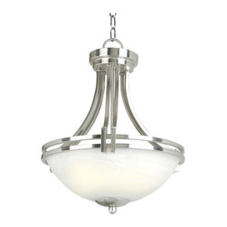 YOSEMITE HOME DECOR - 2 Lights Pendant Lighting in Satin Nickel Finish - - Satin Nickel Frame with Frosted Alabaster Shade