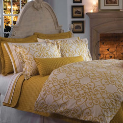 """Freccia"" Duvet Covers by DownTown Company - Freccia, a 100% Cotton Sateen Duvet Cover in a Tradional Scroll pattern in Gold tones on an Ivory Background by DownTown Company from Kellsson Home Linens"