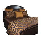Morocco Duvet Set, King - Rich Gold and Chocolate makes this transitional fabric a must have. Accented with Gold crinkle and Brown throw pillow with a matching rope trim gives any room a new excitement.