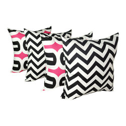Land of Pillows - Premier Prints Embrace Black Candy and Zig Zag Black Candy Throw Pillows Set, 16 - Fabric Designer - Premier Prints