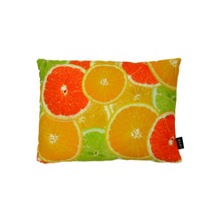 Lava - Citrus 18 x 13 Pillow (Indoor/Outdoor) - 100% polyester cover and fill. Backed with Sunbrella outdoor fabric. Zippered closure with 100% polyester filled insert. Made in USA. Spot clean only. Safe for use indoors or out.