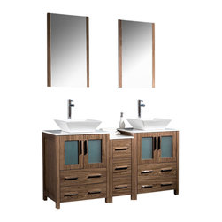 "Fresca - 60"" Walnut Brown Double Sink Vanity w/ Side Cabine Soana Brushed Nickel Faucet - Fresca is pleased to usher in a new age of customization with the introduction of its Torino line.  The frosted glass panels of the doors balance out the sleek and modern lines of Torino, making it fit perfectly in eithertown or country decor."