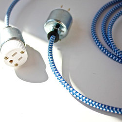 Fabric-Covered Extension Cord, 8' ft 12 ft 16 ft etc. -