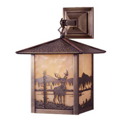 "Meyda Lighting - Meyda Lighting 9"" W Seneca Deer Creek Hanging Wall Sconce - A Young Buck Deer Is Depicted On This Handsome American Craftsman Lantern Style Hanging Wall Sconce. The Fixture, Handcrafted In The USA By Meyda Artisans, Has An Antique"