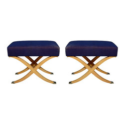 Pair Of 1940s-1950s Stainwood Upholstered Benches Of X-Form - I adore this pair of X-stools; they just ooze glamour. Wouldn't they make a beautiful addition to a master suite when set at the foot of a richly dressed bed?