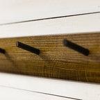 Peg Hanging Coat Rack - Options in five woods: oak, curly maple, walnut, heart pine, or bamboo.