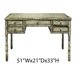 Chinese Antique Light Green Lacquer Writing Desk Computer Table - This is a Chinese antique table which is made of solid elm wood. Its light green lacquered is new made. Right now, it can be used as desk or computer table.