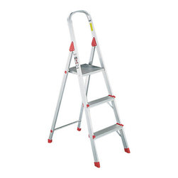 DAVIDSON LADDER, INC. - LADDER EURO PLATFORM 3' ALUM - For household use. Locking platform provides large standing area. Top rail for safety and convenience. Deeply serrated extruded aluminum steps for security. Slip-resistant foot caps. ANSI Type III, Household, 200-lb. duty rating. 183/8-in.w x 31-in. spread x 72-in.h. Shpg. wt. 9-lbs.. . . . . . . . #566 Aluminum Euro Platform Ladder. Dimensions: Height: 1.94253, Length: 1.94253, Width: 1.94253. Country of Origin:   CAT: Facility Maintenance Facility Maintenance Step Stools & Ladders