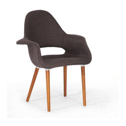 Baxton Studio - Baxton Studio Forza Dark Brown Fabric Mid-Century Modern Arm Chair (Set of 2) - The style of decades past serves as inspiration for this versatile classic accent chair. It features a supportive high back, arms, and light foam padding under the dark brown twill fabric. A wooden frame and legs with brown finish serve as the basis for construction. This chair is made in China and requires assembly.  Spot clean only.   This chair is also available with a lighter brown fabric seat (sold separately).Dimensions: 28.25 inches wide x 18.75 inches deepx 34.625 inches height, seat height:19 inches