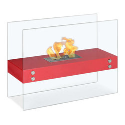 "Ignis Products - Vitrum H Red Freestanding Ventless Ethanol Fireplace - Unearth a new look in your modern d�cor with the addition of this beautiful Vitrum H Red Freestanding Ventless Ethanol Fireplace. This unique model features clear glass that allows you to more clearly see the flame inside and that gives it the appearance that it is just floating there for everyone to enjoy. This ethanol fireplace offers clean-burning heat that will keep you toasty warm while it also creates a welcoming ambiance that is perfect for entertaining or just snuggling in front of the fire. It has a 1.5-liter ethanol burner insert that burns for around five hours per refill, and it delivers approximately 6,000 BTUs of clean, warm, inviting heat. Dimensions: 31.5"" x 23.5"" x 12"". Features: Ventless - no chimney, no gas or electric lines required. Easy or no maintenance required. Freestanding - can be placed anywhere in your home (indoors & outdoors). Capacity: 1.5 Liters. Approximate burn time - 5 hour per refill. Approximate BTU output - 6000."