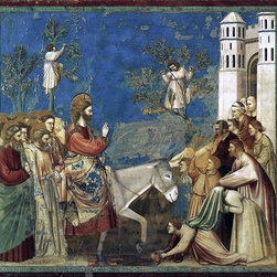 """Giotto Di Bondone Scenes from the Life of Christ: 10. Entry Print - 16"""" x 16"""" Giotto Di Bondone Scenes from the Life of Christ: 10. Entry into Jerusalem (Cappella Scrovegni (Arena Chapel), Padua) premium archival print reproduced to meet museum quality standards. Our museum quality archival prints are produced using high-precision print technology for a more accurate reproduction printed on high quality, heavyweight matte presentation paper with fade-resistant, archival inks. Our progressive business model allows us to offer works of art to you at the best wholesale pricing, significantly less than art gallery prices, affordable to all. This line of artwork is produced with extra white border space (if you choose to have it framed, for your framer to work with to frame properly or utilize a larger mat and/or frame).  We present a comprehensive collection of exceptional art reproductions byGiotto Di Bondone."""