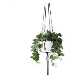HRUSKAA - Large Modern Macrame Hanging Planter, Silver - Listing for hanger only, [WITHOUT POT]
