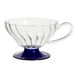 Gabriela Seres - Blue Tea Cup - This elegantly rendered cup has been mouth blown by Eastern European masters. Relax with a cup of coffee or tea to unwind from a stressful day.