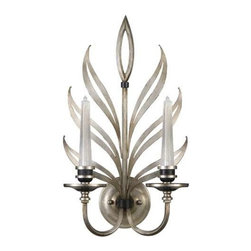 814650ST Sconce Villandry Silver - Metal sconce formed of stylized doubled leaves with openings antique silver leaf with black interiors and accents. Hand-blown ribbed glass candles lit by small dimmable 10 watt halogen bulbs (included).