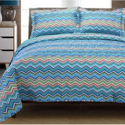 """Home City Impressions Chevron 100% Cotton Quilt Set - Add at least a couple of pops of color - and pure comfort too - to a kid's bunk or the master bed with this Home City Impressions Zig Zag 100% Cotton Quilt Set. Crafted with soft 100% cotton this bright bed set includes a zig-zag printed quilt and coordinating shams available in your choice of several eye-catching colorways. Choose from several available sizes too. They're all machine washable for easy care. Bedding Components: Twin: duvet cover 1 sham Full/Queen: duvet cover 2 shams King: duvet cover 2 shams Duvet Cover Dimensions: Twin: 86L x 68W in. Full/Queen: 92L x 90W in. King: 106L x 92W in. About Home City Inc.Established in the 1980s in Queens New York selling towels and lower-thread-count sheets Home City Inc. started in small office and has developed into a worldwide manufacturing and importing company based out of Brooklyn NY. They were able to establish the name """"""""Home City Inc."""""""" in 2003 which set the tone for the growth in a company that boasts over 25 years of experience in production. Over the years Home City has developed and perfected unparalleled quality products that now serve domestic and international retail stores. Today Home City's fulfillment center is located in Linden NJ with a showroom on Fifth Avenue in New York NY allowing them to provide their customers with an expanded selection of sheet sets duvet cover sets bed skirts pillowcase sets bed-in-bag sets down comforters mattress toppers pillows quilts robes towel sets and more."""
