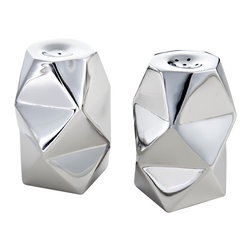 Mary Jurek Design, Inc. - Ibiza Salt & Pepper Shakers - Liven up your table with these fun salt and pepper shakers. Taking on the appearance of folded paper, these modern table accessories appear almost prismatic. They'll look great with contemporary dishware and simple flatware.