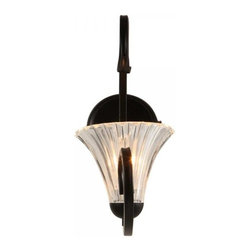 ParrotUncle - Traditional Iron Base Glass Bell Shade Wall Sconces - Decorate your entryway or patio with this incredible stunning wall light featuring a solid black steel base and an artistically curved arm supporting a beautiful flower shaped shade made from glass. The transparent glass shade allows light glow softly and romantically, and it also matches perfectly with the contrasting black base to highlight the purity and elegance features of this wall light fixture.