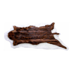 Fur Accents - Fur Accents Pelt Rug / Faux Fur Double Bear Skin / Unique Designer Quality, 30'' - A truly Unique Accent Rug. Multi Colored Browns and White Faux Animal Pelt Area Carpet. Made from 100% Animal Free and Eco Friendly Fibers. Luxury and style for the discriminating designer and decorator.