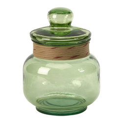 iMax - Sanzio Small Recycled Glass Canister - The small Sanzio glass canister is made from recycled glass and is a beautiful Earth-friendly accent.