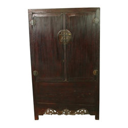 EuroLux Home - Consigned Antique Chinese Armoire Cabinet Carved - Product Details
