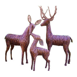 """Deerly - Lifesize Sculpted Grapevine Deer, Buck - Standing - Our lifesize sculpted grapevine are handmade and woven over a steel armor. The deer are designed to withstand the elements and last for years to come. Available in Buck, Doe, & Fawn in multiple styles. Pictured: (From left to right) Doe - Neck Down, Fawn - Head Up, & Buck - Standing. Deer sizes vary from 26"""" Tall (Fawn) to 5ft (Buck & Doe). Detachable antlers (Buck) measure 36"""" Tall. Additional deer styles available on our website."""