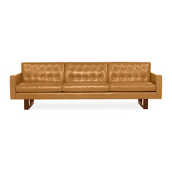 "Wells Leather Sofa - Great vintage details in this button tufted sofa, which is a massive piece (101"")."