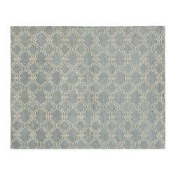 Scroll Tile Rug, Porcelain Blue - I simply love this Moroccan-inspired hand-tufted wool rug. It will add comfort, style and color to any space.