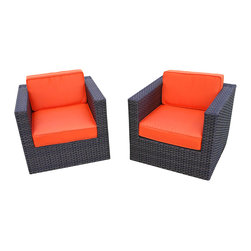 International Home Miami - Bellagio Orange Armchair, 2-Piece Set - Create a cozy conversation area on your patio with this pair of outdoor synthetic wicker armchairs. A low boxy profile and track arms give these chairs a chic contemporary look, while plump weather treated orange cushions promise relaxed outdoor seating.