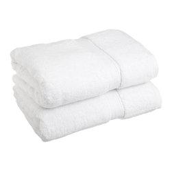 Luxurious Egyptian Cotton 900 Gram 2-Piece White Bath Towel Set - Luxurious Egyptian Cotton 900GSM 2pc White Bath Towel Set