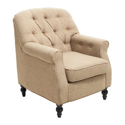 Great Deal Furniture - Verona Fabric Club Chair , Light Brown - The Verona Fabric Club Chair is a great piece for any room in your home. The rounded curvature of it's frame and padded cushion design offers a touch of comfortable elegance to the classic club chair. The intricate details of the legs and button tufted backrest of this chair, makes this club chair a desired piece to enhance any living room, bedroom or office.