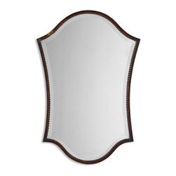 Uttermost - Abra Vanity Distressed Bronze Unique Mirror - This shapely, beveled mirror features a narrow frame finished in lightly distressed bronze with burnished details. Mirror has a generous 1 1/4 inch bevel.