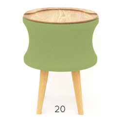 Debra Folz Design - Debra Folz Design Pleated Stool - An intriguing combo of wood and textiles, designer Debra Folz's witty stool — available in a wide array of colors — is the perfect functional accent piece for your favorite setting. Note how the pleats of the drum reflect the grain of the legs and surface.
