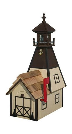 Fifthroom - Callen Electric Lighthouse Mailbox - Like the lighthouses that have led seafarers to safe harbors throughout the years, our Callen Electric Lighthouse Mailbox, with its shining beacon, will always be there to welcome you home.  Beautifully crafted from durable, decay-resistant wood, it features a solid red cedar roof, a working lamp, and a three-foot cord.  With its friendly glow, this mailbox is also a great way to give guests a gracious greeting and steer the stragglers that have strayed off course straight to your street.