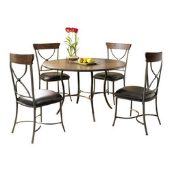 Hillsdale - Hillsdale Cameron 5-Piece Round Wood Top Dining Set with X Back Chairs - Hillsdale - Dining Sets - 4671DTBC2