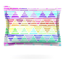 "Kess InHouse - Sreetama Ray ""Stripes Cushion"" Rainbow Chevron Pillow Sham (Cotton, 40"" x 20"") - Pairing your already chic duvet cover with playful pillow shams is the perfect way to tie your bedroom together. There are endless possibilities to feed your artistic palette with these imaginative pillow shams. It will looks so elegant you won't want ruin the masterpiece you have created when you go to bed. Not only are these pillow shams nice to look at they are also made from a high quality cotton blend. They are so soft that they will elevate your sleep up to level that is beyond Cloud 9. We always print our goods with the highest quality printing process in order to maintain the integrity of the art that you are adeptly displaying. This means that you won't have to worry about your art fading or your sham loosing it's freshness."