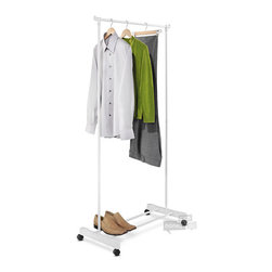 Honey Can Do - White Portable Garment Rack - This economical garment rack is made from lightweight steel and goes from room to room on smooth rolling swivel casters. Perfect for additional clothes storage space or to hang garments to dry in the laundry room. A useful lower shelf offers additional storage space.