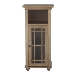 Elegant Home Harrington 1 Door Floor Cabinet - Simple, elegant looks and cozy charm make the Elegant Home Harrington 1 Door Floor Cabinet your ideal storage piece. The perfect storage place for items that you want at the ready, this gorgeous traditional style cabinet has the look you'll love. Crisp and clean, the tempered glass is accented by slat details that open to reveal an adjustable shelf. The open cubby is the perfect place to display accents that make your bathroom a cozy space. Distressed and lovely, the reclaimed wood finish and lavish crown molding are details that can't be beat.