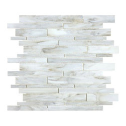 Anatolia - Bliss Baroque Calacatta Random Linear Mosaic - The Bliss Baroque from Anatolia is a stained glass mosaic collection ideal for kitchen or bathroom backsplashes. The swirls and unusual combinations of color create mesmerizing glass mosaic walls.