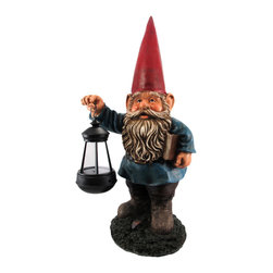 Garden Gnome Holding Lantern Statue - This wonderfully detailed garden gnome statue carries a lantern with an LED light. Made of cold cast resin, the gnome measures 17 inches tall, 8 inches wide and 6 inches deep. The lantern itself is 2 1/4 inches in diameter, 5 inches tall. He`s hand-painted, and shows great detail. The lantern runs on a pair of AA Batteries (not included). This statue makes a wonderful gift for any gnome collector.