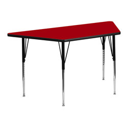 Flash Furniture - Flash Furniture 30 x 60 Trapezoid Activity Table with Laminate Top - Flash Furniture's XU-A3060-TRAP-RED-T-A-GG warp resistant thermal fused laminate trapezoid activity table features a 1.125'' top and a thermal fused laminate work surface. This Trapezoid Laminate activity table provides a durable work surface that is versatile enough for everything from computers to projects or group lessons. Sturdy steel Legs adjust from 21.125'' - 30.125'' high and have a brilliant chrome finish. The 1.125'' thick particle board top also incorporates a protective underside backing sheet to prevent moisture absorption and warping. T-mold edge banding provides a durable and attractive edging enhancement that is certain to withstand the rigors of any classroom environment. Glides prevent wobbling and will keep your work surface level. This model is featured in a beautiful Red finish that will enhance the beauty of any school setting. [XU-A3060-TRAP-RED-T-A-GG]